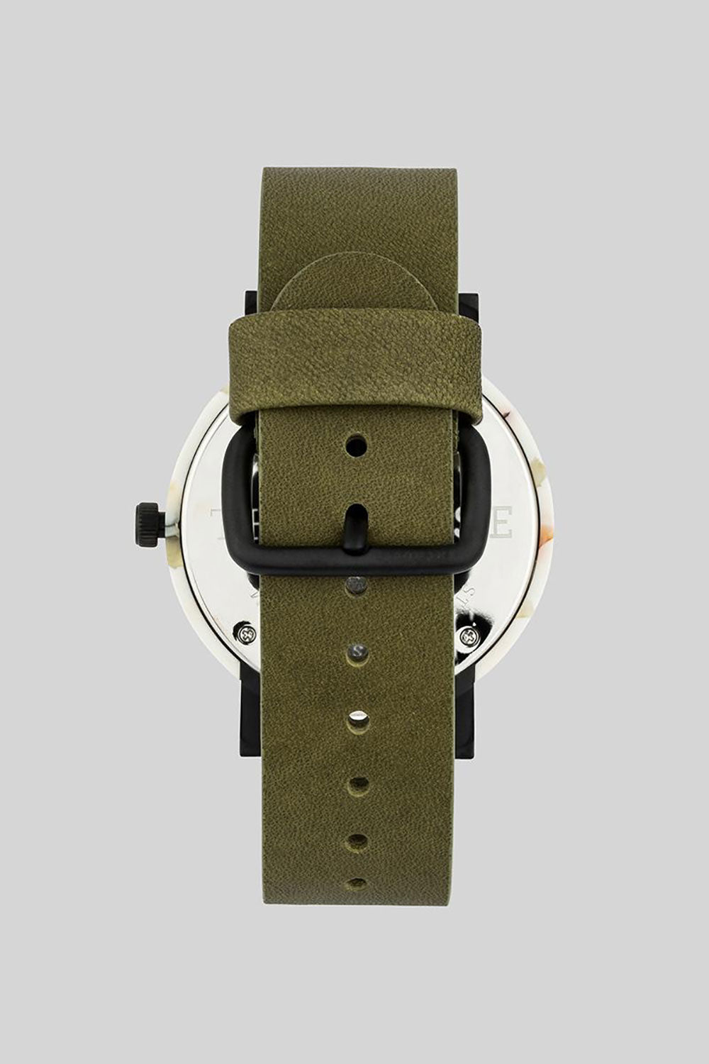 NOUGAT SHELL - WHITE DIAL - OLIVE LEATHER