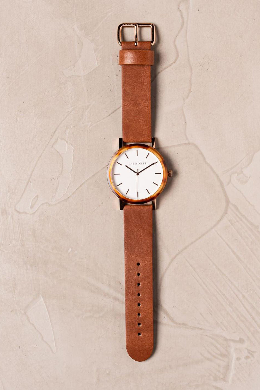 CARAMEL TREACLE CASE - WHITE DIAL - ROSE GOLD INDEXING - TAN LEATHER