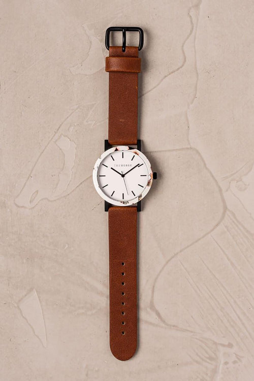 NOUGAT SHELL - WHITE DIAL - TAN BAND