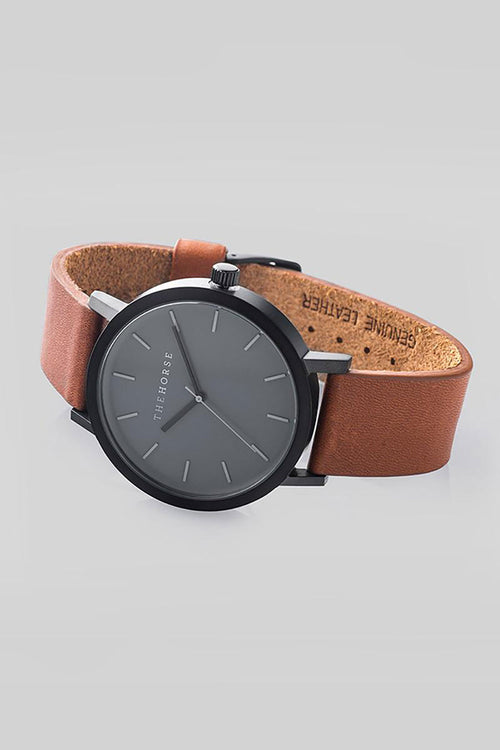 THE ORIGINAL - MATTE BLACK, BLACK DIAL, TAN LEATHER