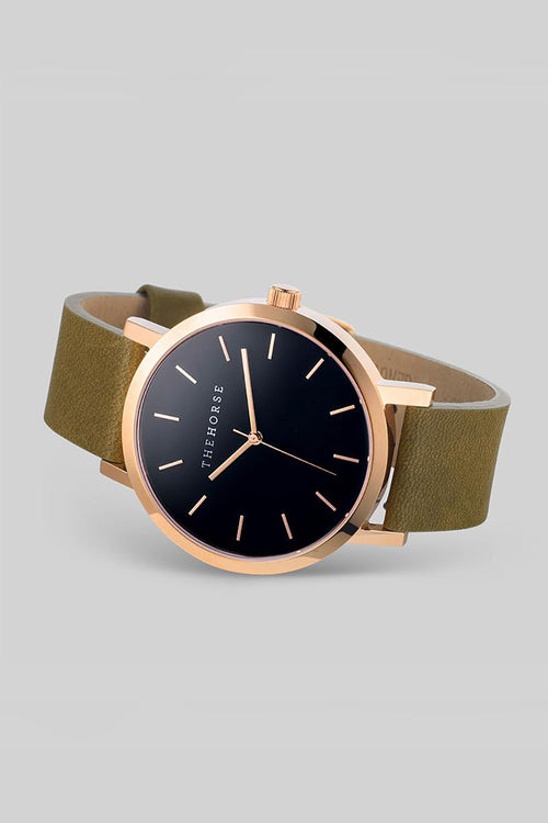 THE ORIGINAL - ROSE GOLD, BLACK DIAL, OLIVE LEATHER