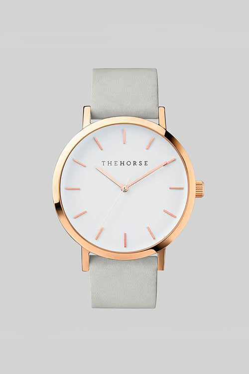 THE ORIGINAL - ROSE GOLD, WHITE DIAL, GREY LEATHER