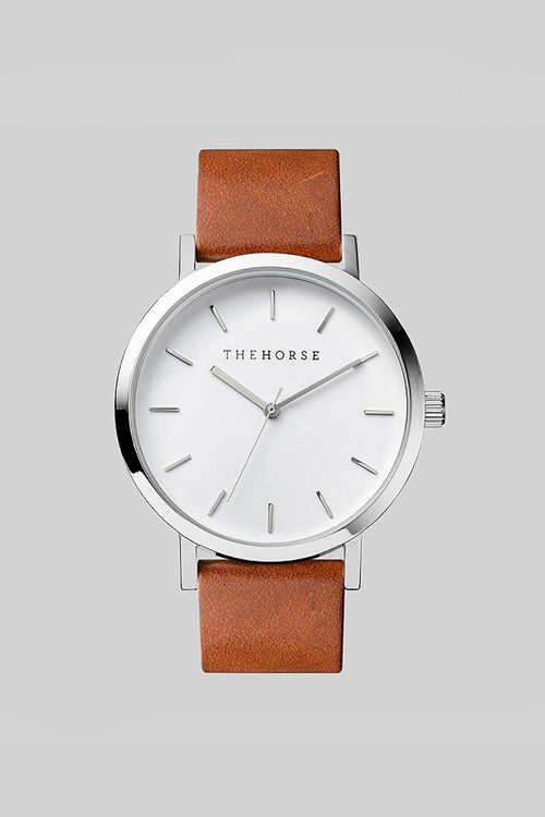 THE ORIGINAL - POLISHED STEEL, WHITE DIAL, TAN LEATHER