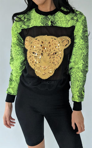 Mesh paneled jumper with sequin tiger head