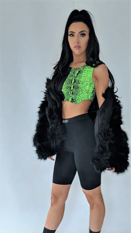 Green Snake Print Crop Top