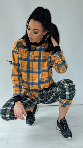Mustard Check Crop Jumper