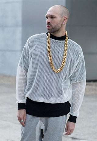 White Mesh Jumper