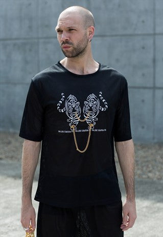 Black Mesh Tee - Tiger 2 Chain