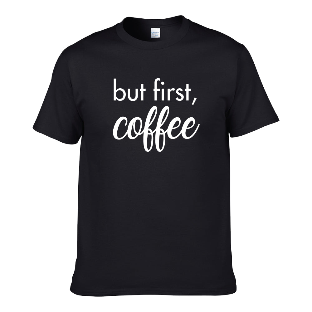 UT AVOID HANGOVER BUT FIRST COFFEE Premium Slogan T-Shirt