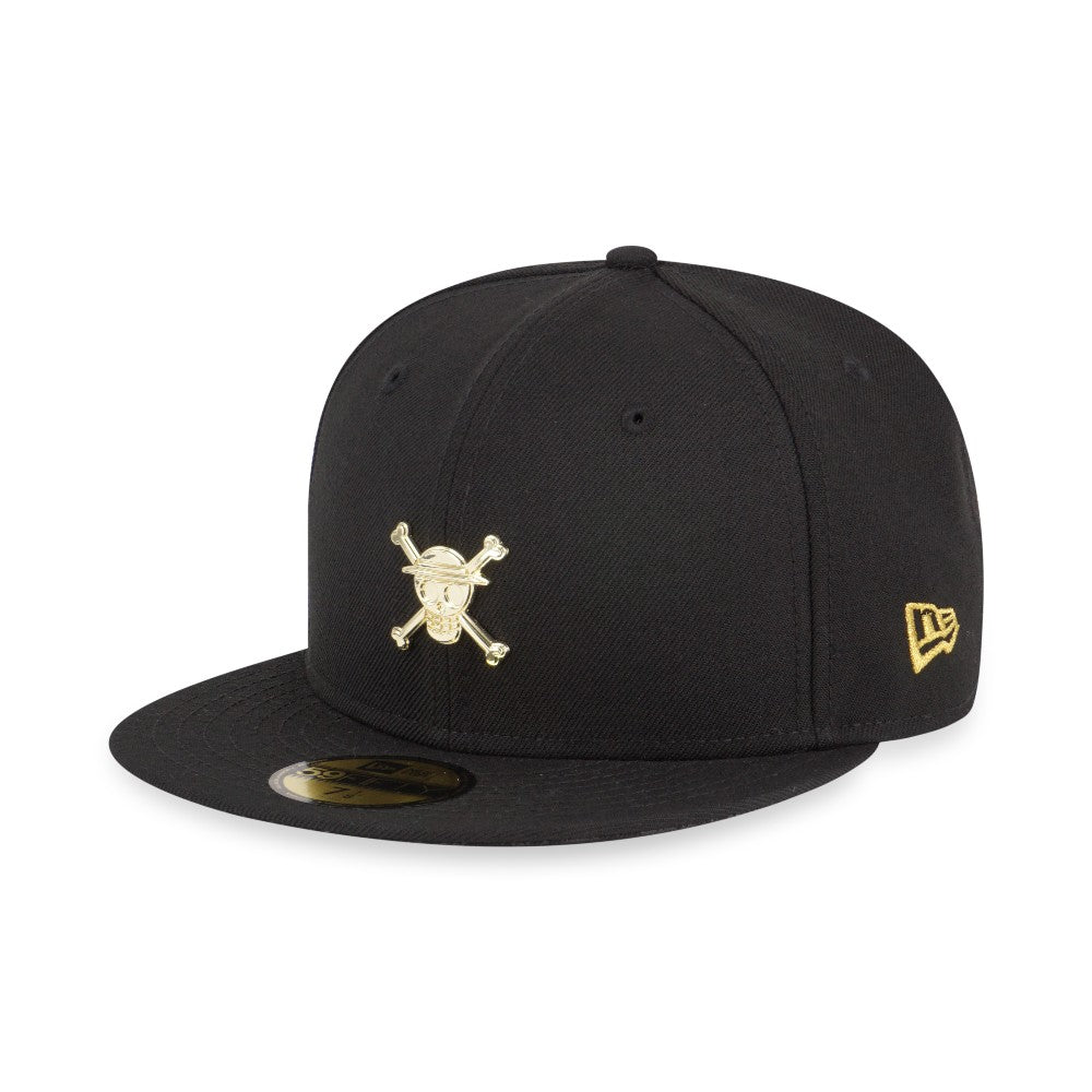 de16bca3856 One Piece Straw Hat Luffy Gold Logo New Era 59Fifty Fitted Cap – urban TEE