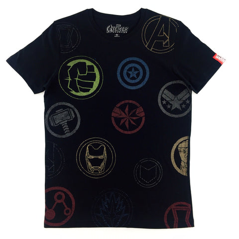 PREMIUM Marvel AVENGERS 4 END GAME All-Over Symbol T-Shirt
