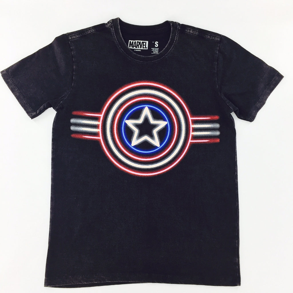 "Marvel Captain America Neon Shield ""Washed"" T-Shirt"