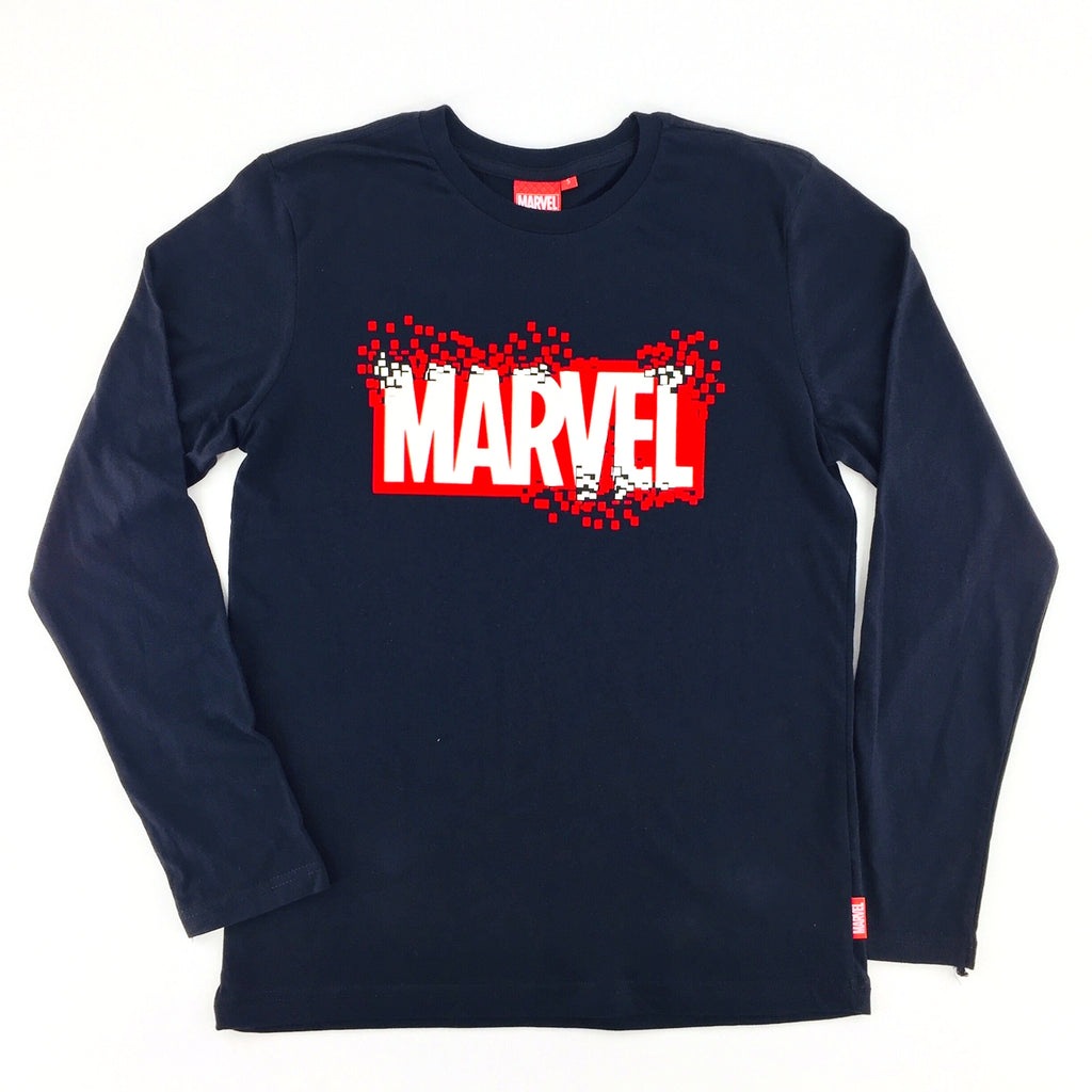 PREMIUM PIXELATING MARVEL LOGO Glow-in-the-Dark Long Sleeve T-Shirt