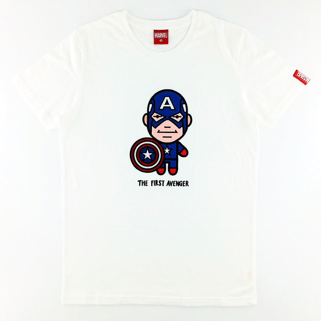 PREMIUM Marvel Kawaii Captain America Embroidered Patch T-Shirt