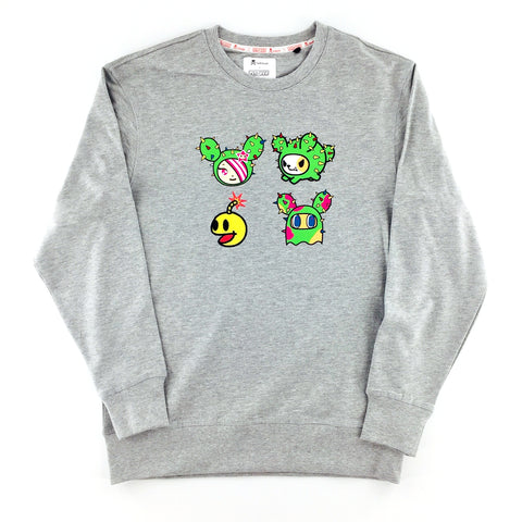 Tokidoki x Pac-Man Embroidered Unisex Melange Grey Sweater