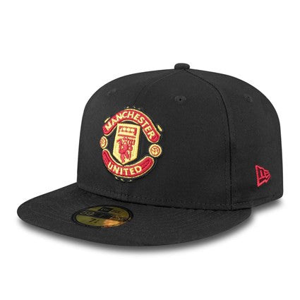 Manchester United Logo Black New Era 59Fifty Fitted Cap