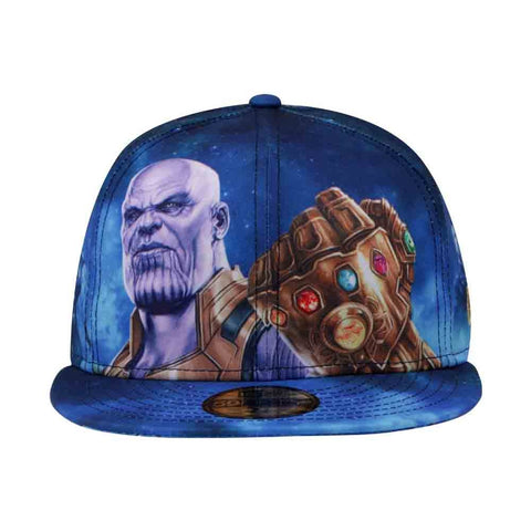 ... Marvel Avengers Infinity War Thanos All-Over New Era 59Fifty Fitted Cap  ... 95d13fd7352