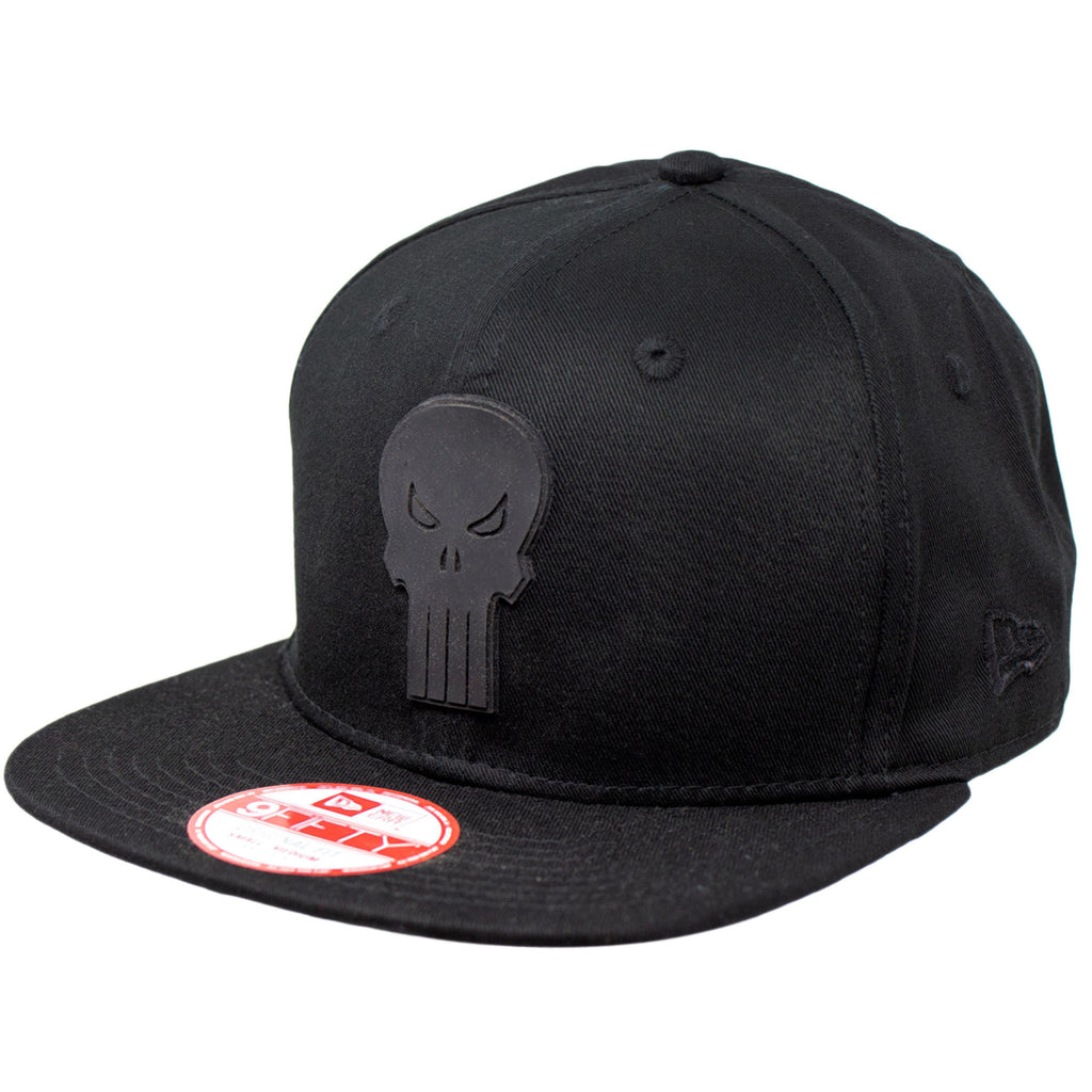 Marvel Punisher Black on Black Logo New Era 9Fifty Snapback Cap
