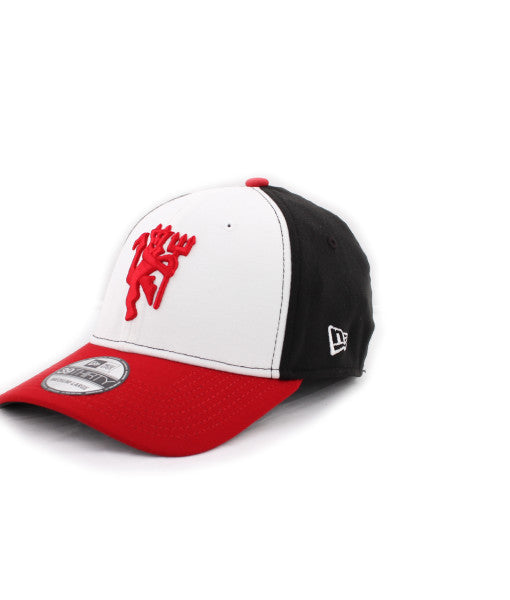 Manchester United Red Devil White & Black New Era 39Thirty Stretch Fitted Cap