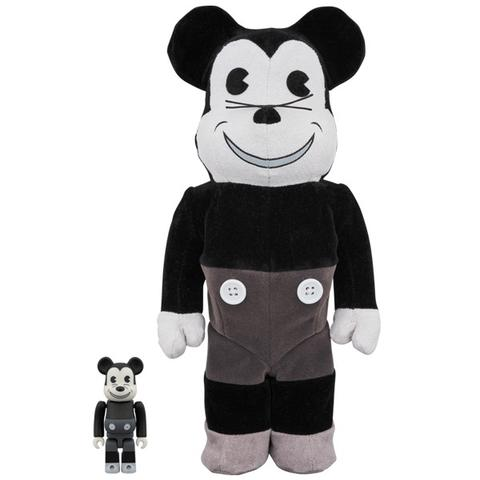 BEARBRICK 400% + 100% Disney Mickey Vintage Black & White Version