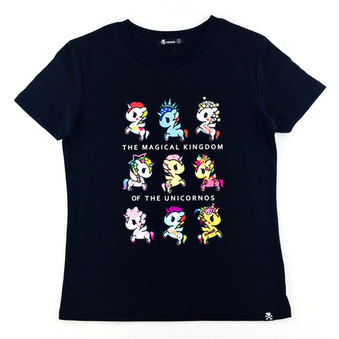 Tokidoki Magical Kingdom of Unicorno Black Female T-Shirt