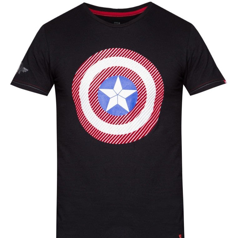 PREMIUM Marvel Captain America Flock Shield T-Shirt