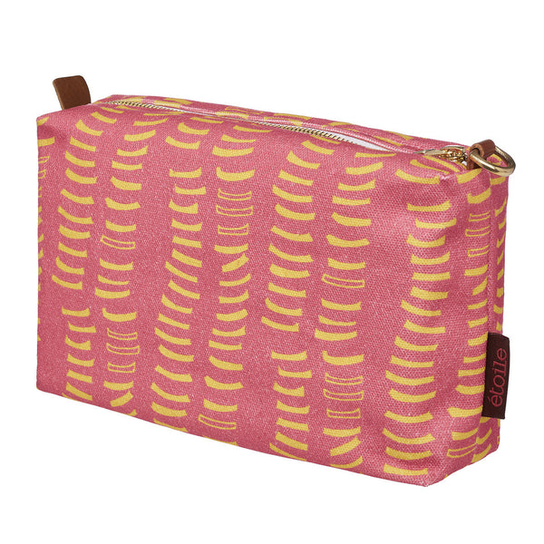 Graphic Adam's Rib Pattern Canvas Toiletry Bag in Coral Pink and Mustard Yellow