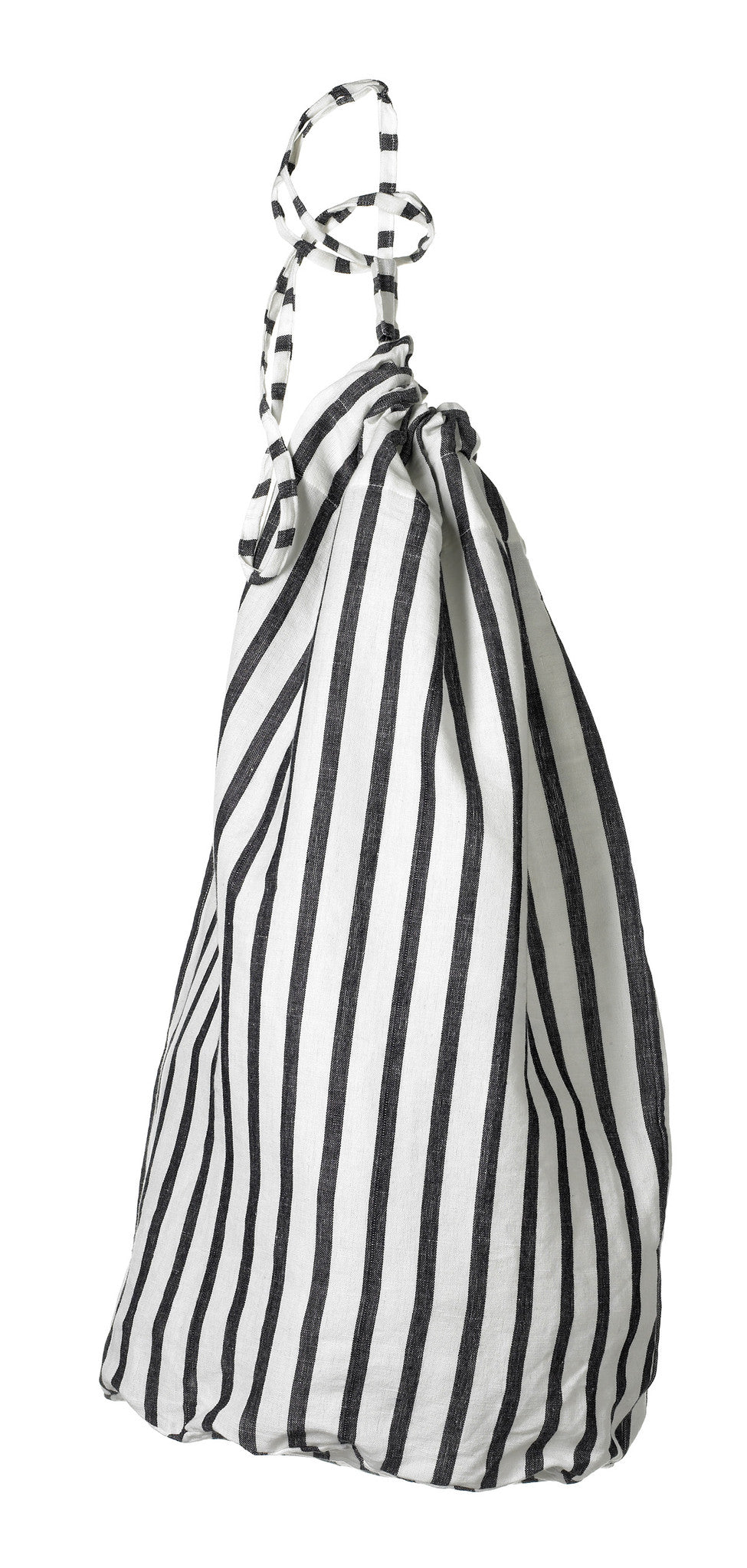 Autumn Ticking Stripe Cotton Linen Laundry & Storage Bag in Black