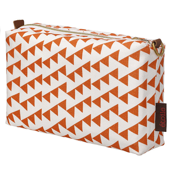 Bunting Geometric Pattern Canvas Toiletry Bag in Bright Pumpkin Orange