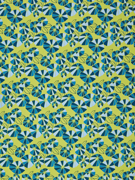 Graphic Eden Floral Pattern Printed Linen Cotton Canvas Fabric in Chartreuse Yellow, Blue, Turquoise