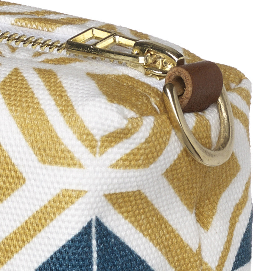 Glasswork Geometric Pattern Canvas Toiletry Bag in Bright in Mustard Gold & Dark Petrol Blue