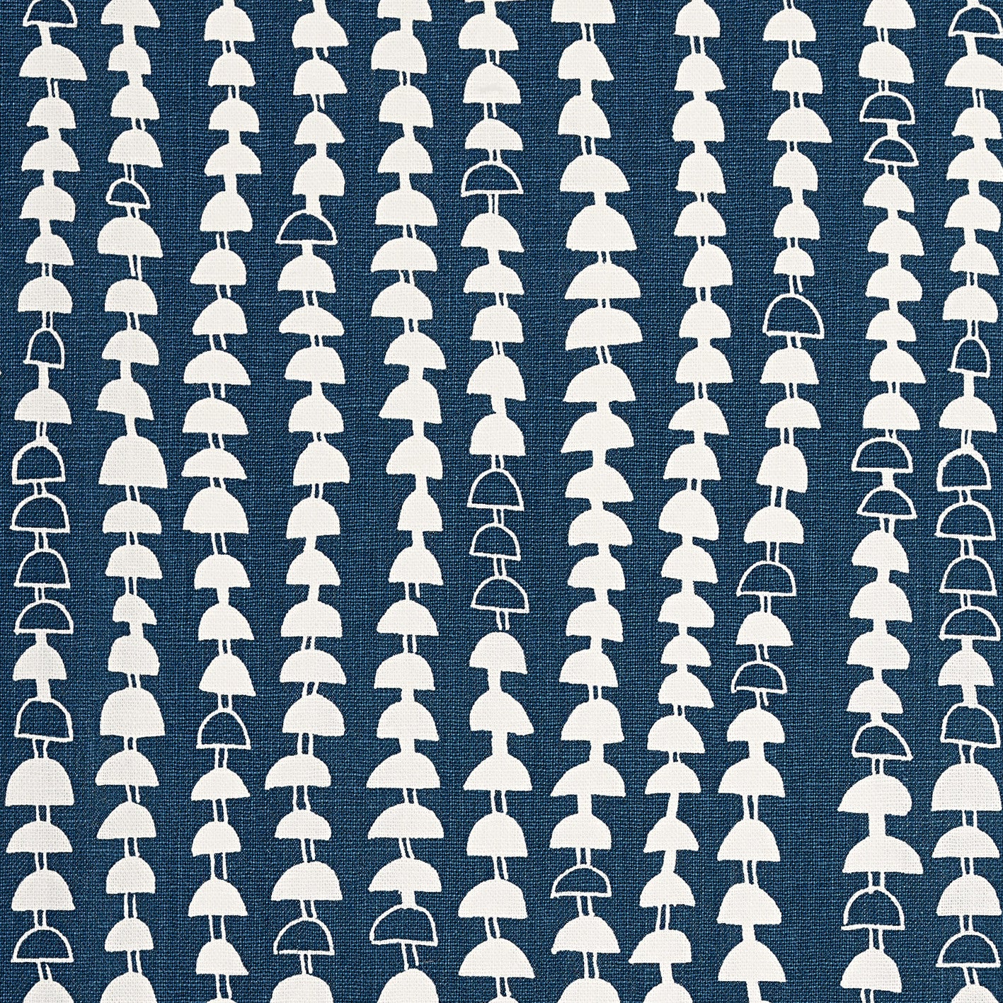 Hopi Graphic Strung Bead Pattern Cotton Linen & Canvas Fabric in Dark Petrol Blue