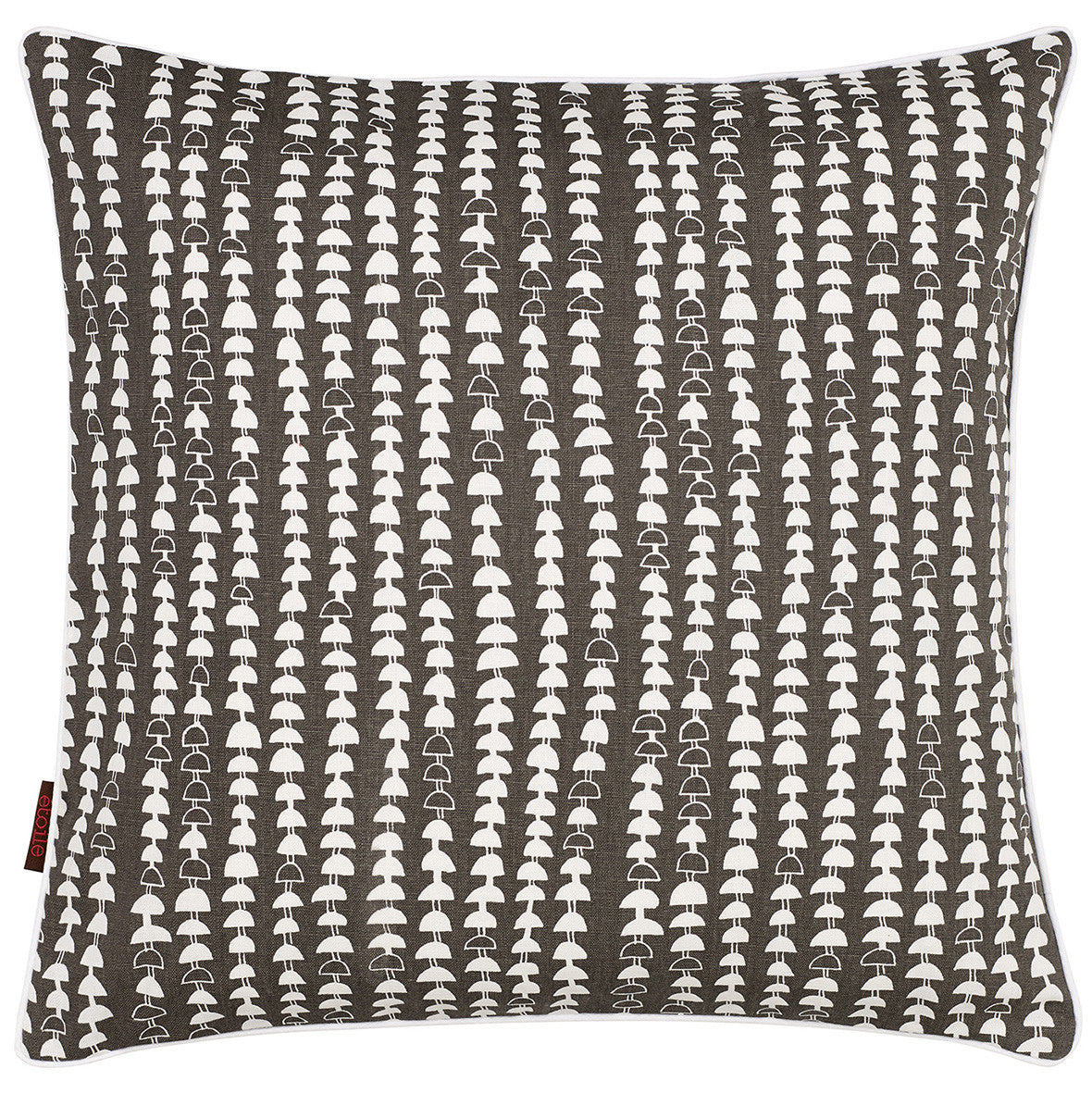 Hopi Graphic Pattern Cotton Linen Cushion in Stone Gray