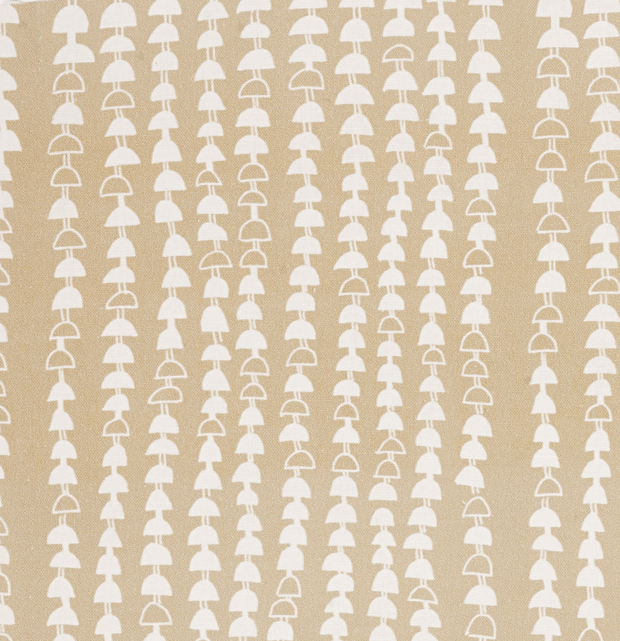 Hopi Graphic Strung Bead Pattern Cotton Linen & Canvas Fabric by the Yard in Off White Earth