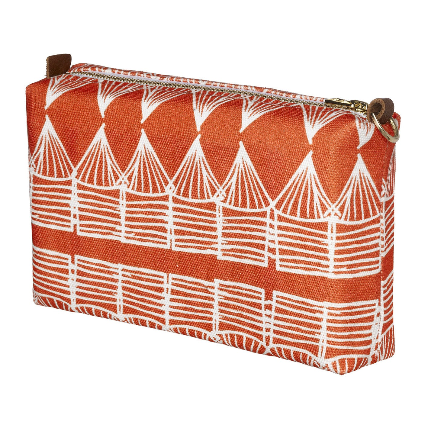 Tiki Huts Pattern Printed Canvas Toiletry Bag in Bright Pumpkin Orange