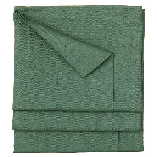 Linen Cotton Union Tablecloth in Dark Moss Green 52x76""