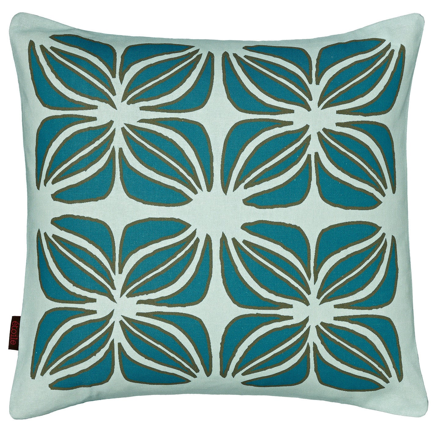 Nina Graphic Pattern Linen Cotton Pillow in Light Celeste Blue