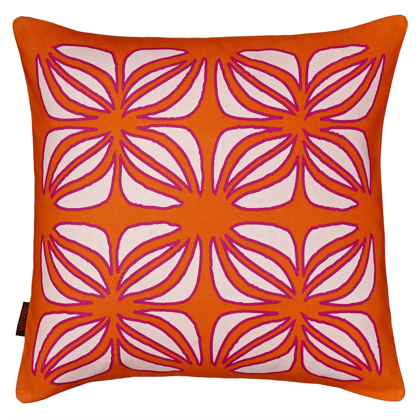 Nina Graphic Pattern Printed Linen Cotton Pillow in Pumpkin Orange