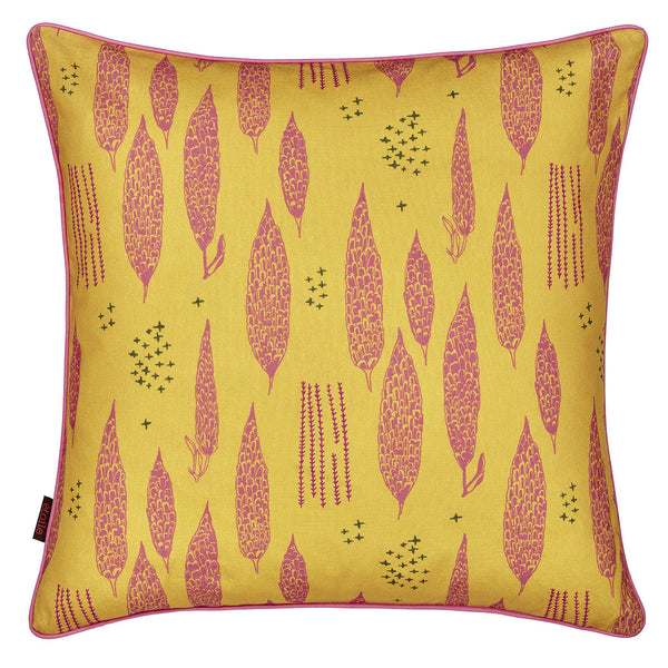 Graphic Tree Pattern Linen Union Printed Cushion in Mustard Yellow and Coral Pink