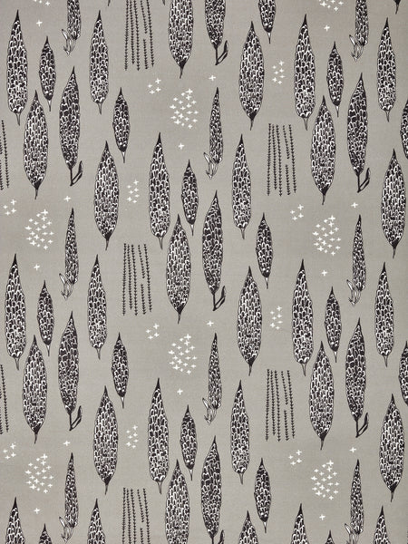 Graphic Poplar Floral Tree Pattern Linen Cotton Canvas Printed Fabric in Light Dove Gray, Black and White