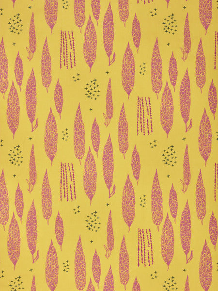 Graphic Poplar Tree Floral Pattern Printed Linen Cotton Canvas Fabric in Mustard Yellow and Coral Pink