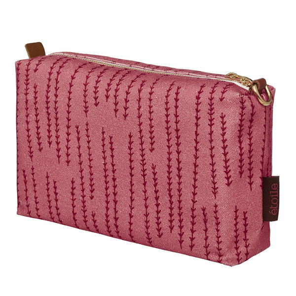 Graphic Rosemary Sprig Pattern Toiletry Bag in Coral Pink & Vermilion Red