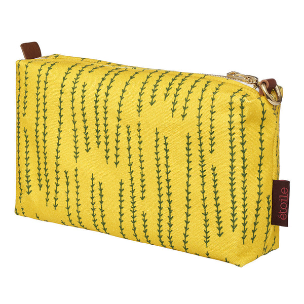 Graphic Rosemary Sprig Pattern Toiletry Bag in Bright Mustard Yellow and Olive Green