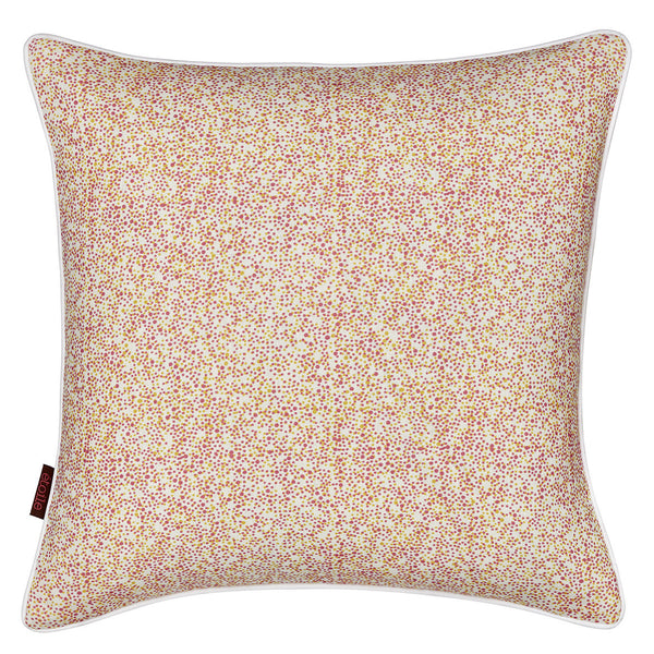 Multicolour Spots Pattern Linen Union Printed Cushion In Coral Pink & Mustard Yellow