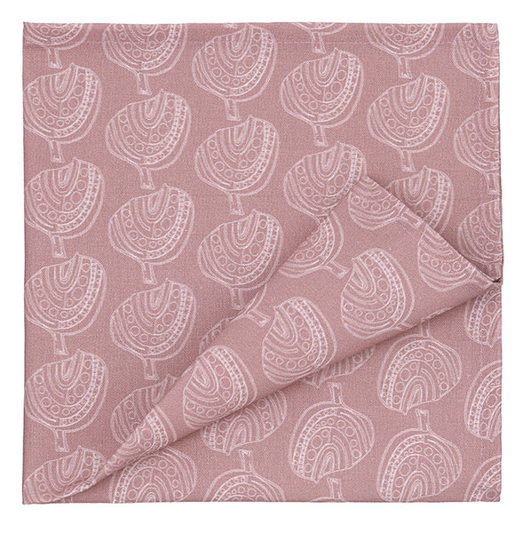 Set of Graphic Apple Tree Pattern Printed Cotton Linen Union Napkins in Light Heather Pink