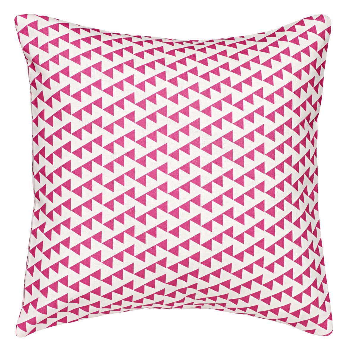 Bunting Geometric Pattern Cotton Linen Pillow in Fuchsia Pink 18x18""