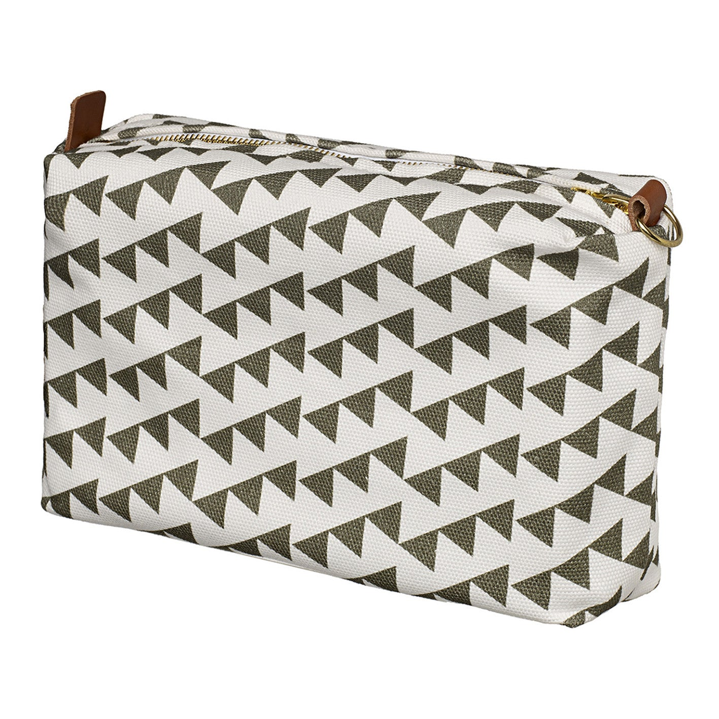 Bunting Geometric Pattern Canvas Toiletry Bag in Dark Olive Green
