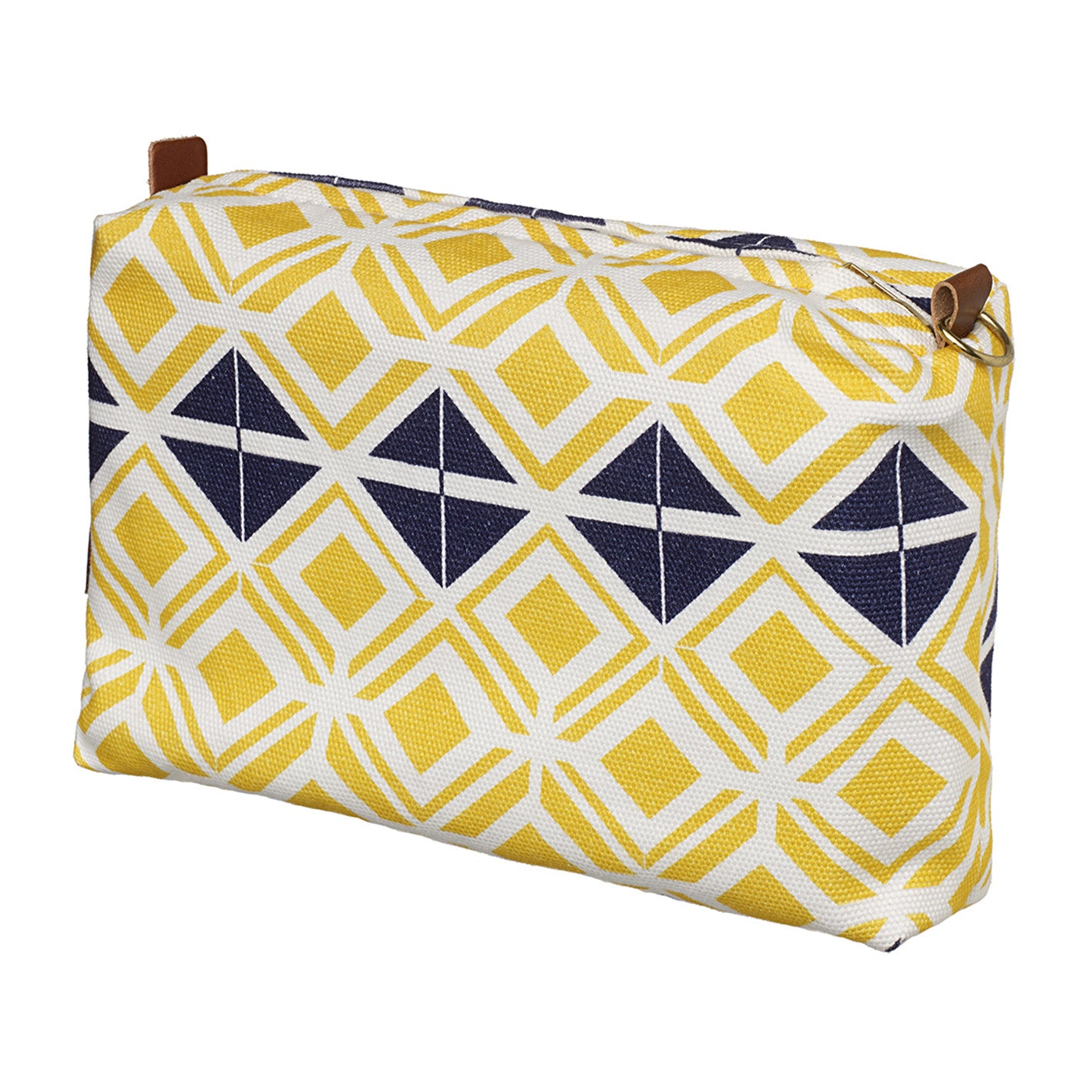 Glasswork Geometric Pattern Canvas Toiletry Bag in Bright Maize Yellow & Dark Blue