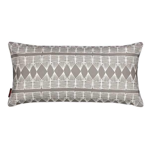 Tiki Huts Pattern Linen Cotton Rectangle Pillow in Light Dove Gray