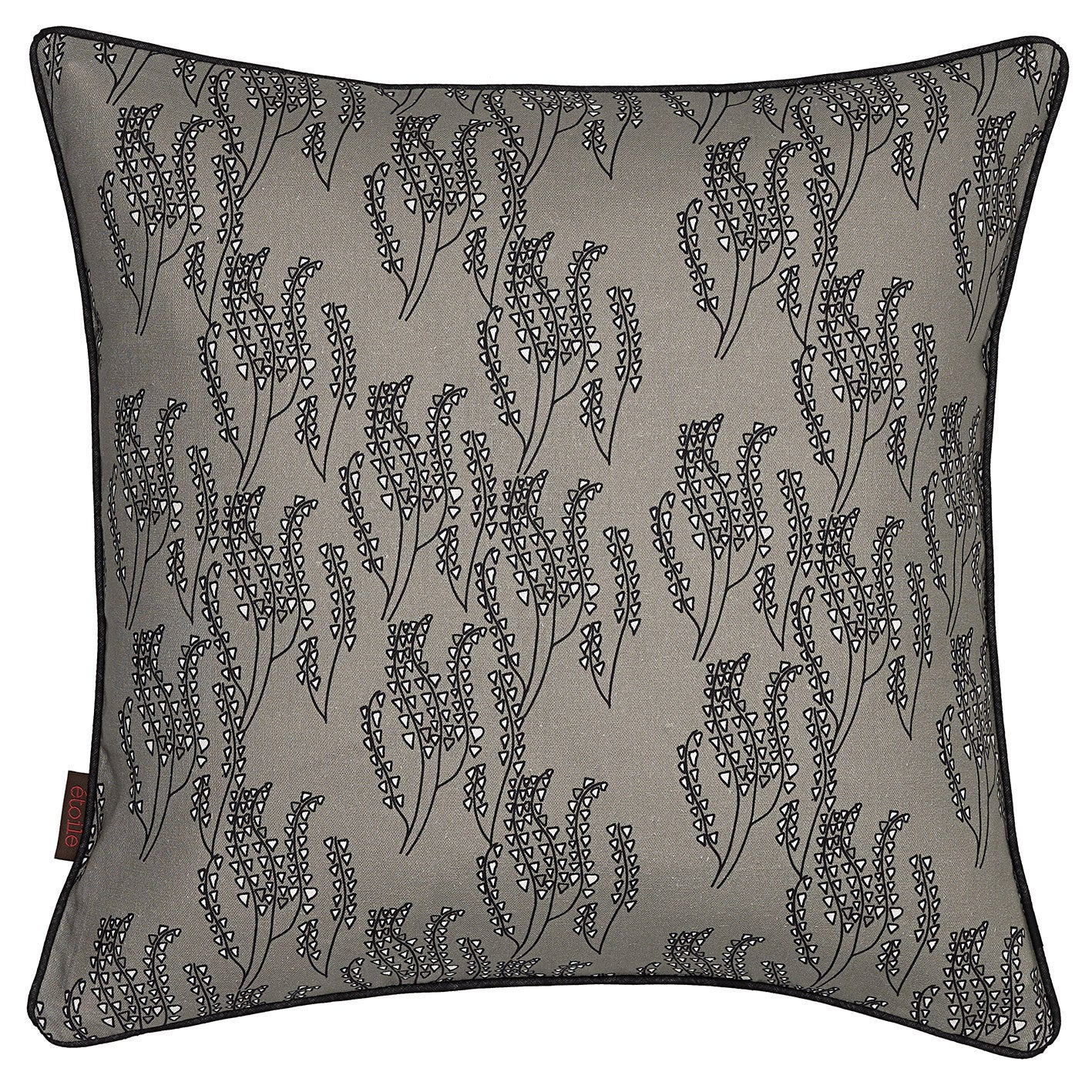 Maricopa Graphic Floral Pattern Cotton Linen Pillow in Light Dove Gray